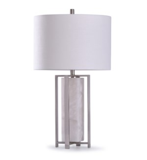 Abyaz Silver | 30in Elegant Transitional Marble with Steel Frame Table Lamp | 150W | 3-Way