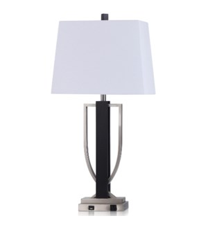 GAVIN TABLE LAMP | 34in ht. | Brushed Steel Metal and Wood Body Table Lamp with Convenience Outlet a