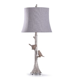 Galah Silver | 35in Ornately Carved Two Birds Sitting on a Branch Table Lamp on Crystal Base | 150W
