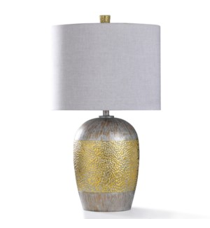 OTTEY GOLD TABLE LAMP | 17in w. X 30in ht. | Silver and Gold Dimpled Body Urn Style Table Lamp | 150