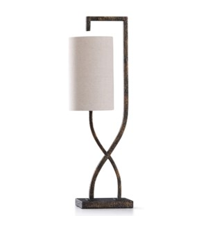 BRAUN STONE TABLE LAMP | 29in ht. | Hang Man Stone Like Metal Accent Desk Lamp  | 40 Watts