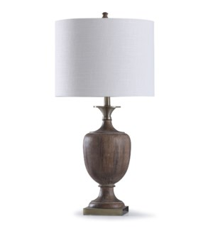 Roanoke | 32in Wood Grain Textured Traditional Colonial Style Table Lamp | 150W | 3-Way