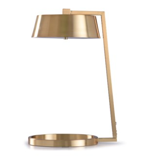 Soft Gold | 21in Modern Gold Table Lamp with Gold Metal Shade | 12W | Inline Switch