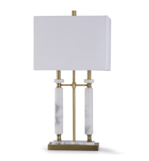 ARABESCATO GOLD | 33in X 17in | Traditional Steel and Carrara Marble Table Lamp