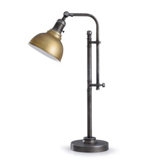 Lofton Gold | 26in Industrial Metal Table Lamp with Gold Adjustable Shade | 100W | Inline Switch