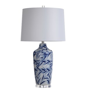 Hesper Blue | 33in Traditional Blue and White Ceramic Table Lamp with Leaf Design on Acrylic Base |