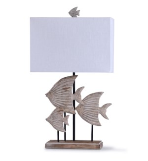 Rona Beige | 33in Coastal Carved Fish Table Lamp with Rectangle Hardback Shade | 60 Watt