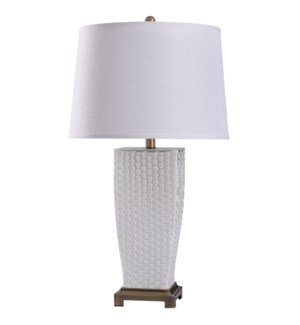 White Spray | 29in Elegant Dimpled Glass Body & Metal Base Table Lamp | 150 Watts | 3-Way