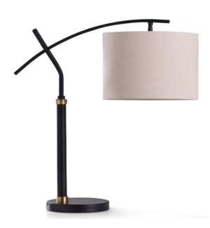 DUDLEY BLACK DESK LAMP | 12in w. X 24in ht. | Metal Frame Adjustable Head Desk Lamp in Black and Gol
