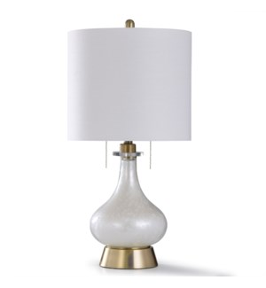 WHITE NOVA | 31in X 15in | Elegant White Glass Table Lamp with Antique Brass Base and Twin Pulls