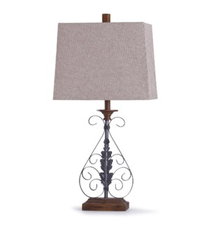 Bakewell Bronze | 33in Traditional Ornate Metal Table Lamp in Oil Rubbed Bronze and Rectangle Shade