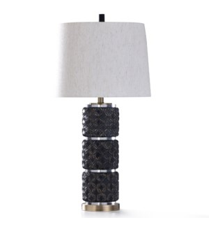 MALTA BLACK TABLE LAMP | 33in ht. | Diamond Cut Design Stacked Body Table Lamp with Clear Acrylic Ac