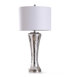 KINWICK SILVER TABLE LAMP | 38in ht. | Antique Reflective Glass Body Table Lamp with Metal Brushed S