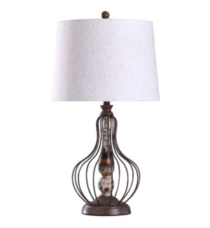 Yarrow Bronze | 31in Traditional Metal Wire and Weathered Resin Table Lamp | 150W | 3-Way