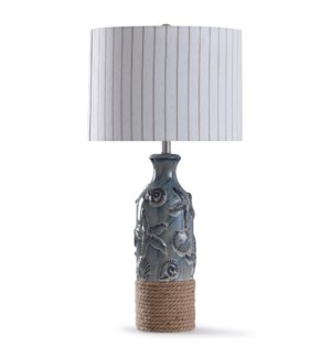 Bampton Blue | 32in Coastal Embossed Blue Ceramic Table Lamp with Rope Accent with Designer Pattern