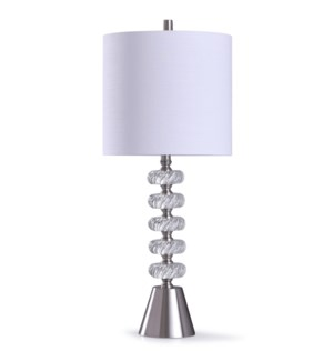 Crystal | 32in Transitional Crystal Stacked Table Lamp with Brushed Steel Base and Accents | 150W |
