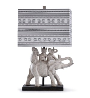 Dapple Grey | 28in Worldly Gray Elephants Table Lamp with on Rectangle Base and  Designer Linen Patt