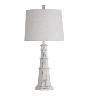 Berwyn White | 33in Distressed White Coastal Light House Table Lamp | 150W | 3-Way