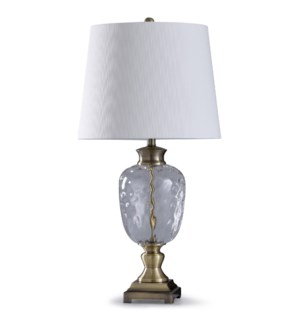 Antique Brass | 33in Traditional Glass and Metal Table Lamp | 150W | 3-Way