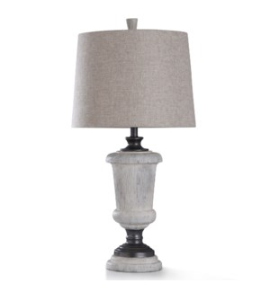CINDER FORD TABLE LAMP | 33in ht. | Traditional Colonial Stone Style Table Lamp with Gun Metal Finis