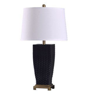Sea Navy | 29in Elegant Dimpled Glass Body & Metal Base Table Lamp | 150 Watts | 3-Way