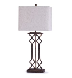 Textured Bronze | 36in Textured Bronze Metal Table Lamp with Rectangle Linen Shade | 100W | 3-Way
