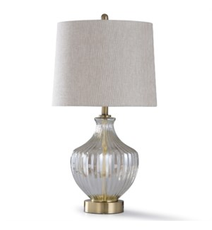 ELEGANCE GOLD | 32in X 17in | Sophisticated Traditional Glass and Steel Table Lamp