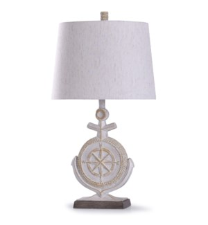 Somerland Ivory | 30in Nautical Resin Carved Anchor Table Lamp | 100W | 3-Way
