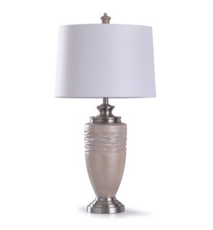 Chorley Silver | 35in Traditional Textured Wavy Resin Table Lamp with Brushed Silver Accents | 150W