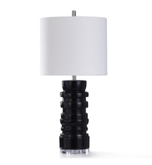 DOMINICI TABLE LAMP | 16in w. X 34in ht. | Stacked Body Black Ceramic Table Lamp with Clear Acrylic