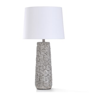 ARTHER STONE TABLE LAMP | 32in ht. | Flower Motif Moulded Body Concrete Style Table Lamp | 150 Watts