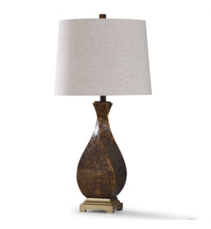DAKOTA LATTE  | 32in X 16in | Textured Traditional Resin Table Lamp with Antique Brass Metal Base