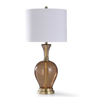 BISTRO GOLD | 37in X 18in | Traditional Amber Glass Body with Antique Brass Accents Table Lamp