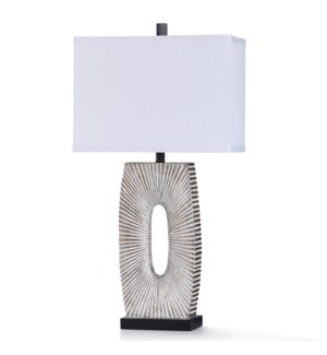 MC ALLEN TABLE LAMP | 17in w. X 33in ht. X 10in d. | Painted Silver Starburst Design Table Lamp with