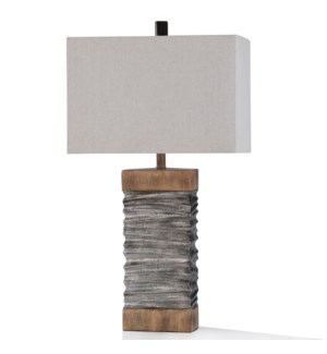 DARLEY TABLE LAMP | 32in ht. | Slate Layered Silver and Natural Wood Painted Body Table Lamp | 100 W