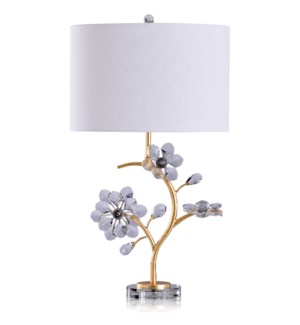 Ulster Gold Table Lamp | 28in Ht. Gold Branch with Crystal Glass Leaflets and Base | 100 Watts 3-Way