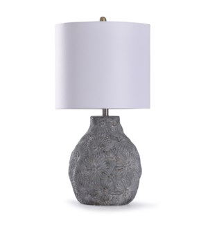 Cleobury Blue | 30in Delicate Floral Concrete Table Lamp | 150W | 3-Way