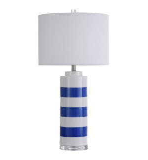 Joplin Blue | 32in Nautical Blue and White Stripe Ceramic Table Lamp | 150W | 3-Way