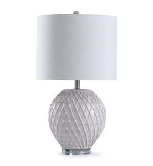 Tabitha Haze | 29in Traditional Round White with Gray Detail Quilted Ceramic Table Lamp on Acrylic B