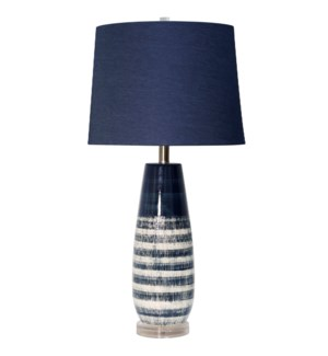 BERNI BLUE TABLE LAMP | 30in ht. | Two Tone Textured Body Ceramic Table Lamp with Clear Acrylic Base
