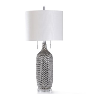 CORDELIA SILVER TABLE LAMP | 16in w. X 35in ht. | Reflective Ceramic Woven Net Design Body Table Lam