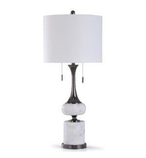 ARABESCATO NICKLE | 37in X 16in | Contemporary Marble and Steel Table Lamp with Twin Pulls