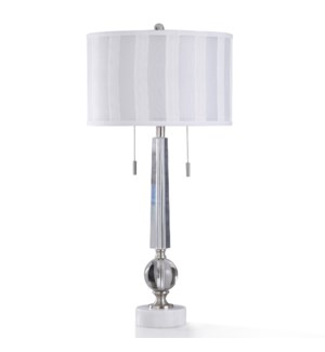 LUCA SILVER TABLE LAMP | 17in w. X 36in ht. | Traditional Two Layer Shade Elegand Crystal Glass Twin