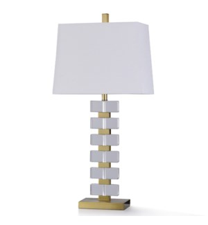 BATULLI TABLE LAMP | 13in w. X 35in ht. | Six Story Crystal Glass Stacked Design Table Lamp with Met