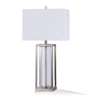 SILAS SILVER TABLE LAMP | 33in ht. | Clear Seeded Glass Pillar Display Table Lamp in Brushed Steel F