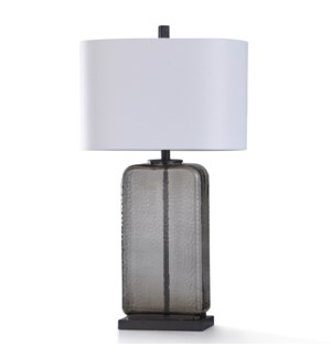 CHARLES SMOKE TABLE LAMP | 12in w. X 32in ht. | Dimpled and Tinted Glass Body Table Lamp with Metal