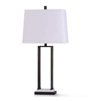 DARTFORD BRONZE TABLE LAMP | 34in ht. | Rubbed Bronze Metal Gateway Design Table Lamp with Natural M