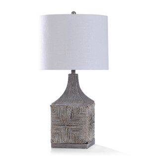 PAVESI GREY TABLE LAMP | 33in ht. | White Washed Natural Rattan Woven Body Table Lamp with Hand Fini