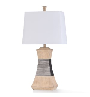 HAVERHILL TABLE LAMP | 16in w. X 32in ht. X 9in d. | Transitional Nickel Strap Banded and Antique Iv