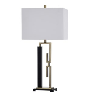 METTON BRONZE | 16in w X 33in ht X 10in d | Contemporary Black and Gold Bent Steel Table Lamp | 100
